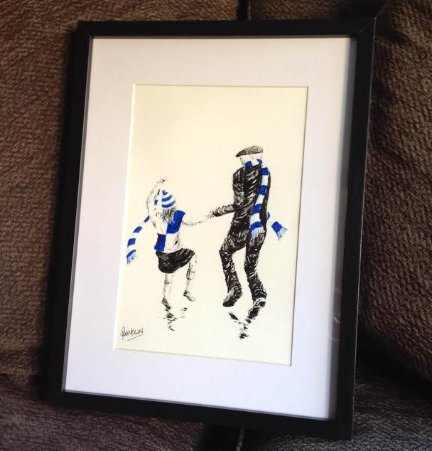 bristol rovers father and daughter original artwork in 14 x 11frame